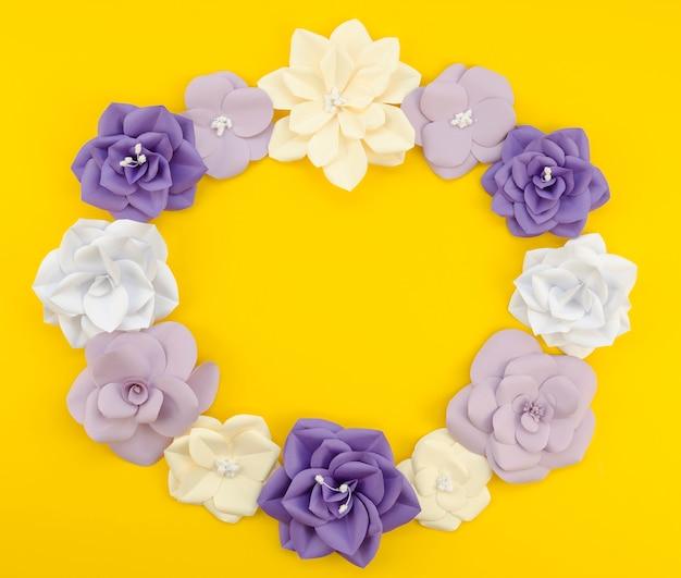 Cadre floral circulaire vue de dessus avec fond jaune