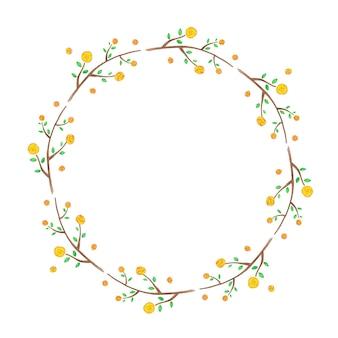 Cadre floral avec des fleurs jaunes