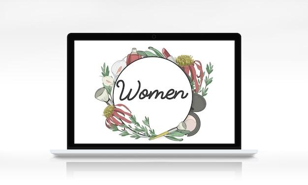 Cadre floral de grâce féminine féminine