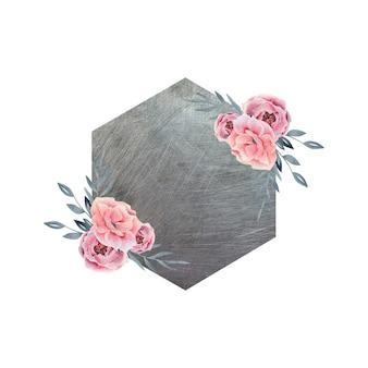Cadre floral de printemps sur fond de couleur métal