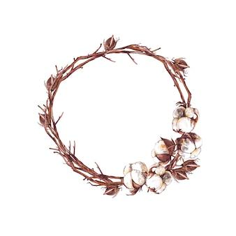 Cadre floral rond de branches, de boîtes et de bourgeons de coton secs réalistes. illustration aquarelle.