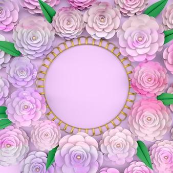 Cadre de fond de cercle avec fleur rose en fleurs.