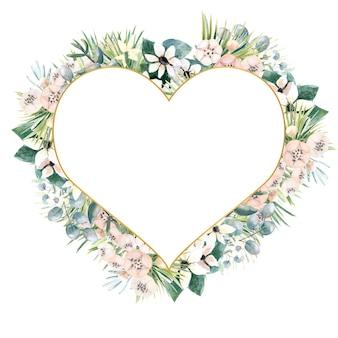 Cadre en forme de cœur avec de petites fleurs d'actinidies, de bouvardia, de feuilles tropicales et de palmiers