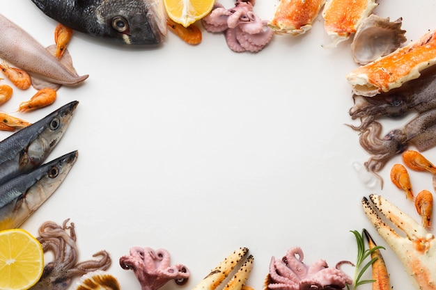 Cadre formé par un mélange de fruits de mer