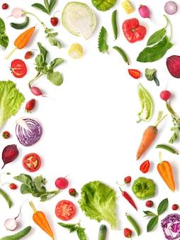 Cadre de fruits et légumes mélangés