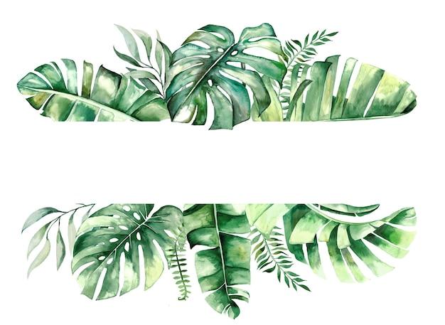 Cadre géométrique aquarelle feuilles tropicales
