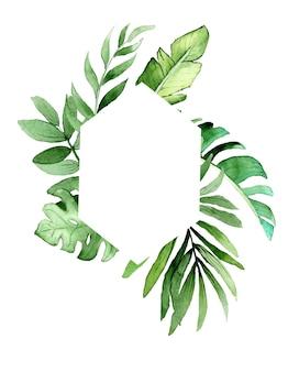 Cadre géométrique aquarelle avec des feuilles tropicales