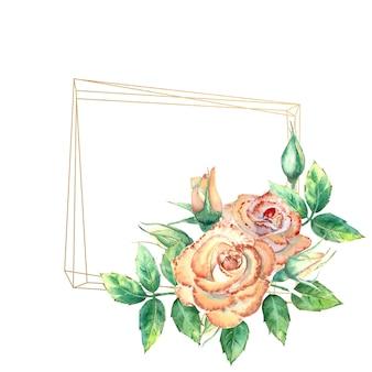 Cadre géométrique doré orné de fleurs. roses pêches, feuilles vertes, fleurs ouvertes et fermées. illustration à l'aquarelle.