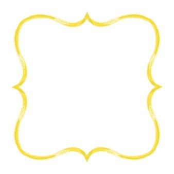 Cadre grunge aquarelle jaune. cadre de coups de pinceau texturé jaune abstrait vintage aquarelle dessiné à la main isolé sur fond blanc