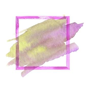 Cadre grunge aquarelle rose et jaune coloré avec tache d'aquarelle. cadre de coups de pinceau texturé rose abstrait vintage aquarelle dessiné à la main isolé sur fond blanc. espace pour le texte