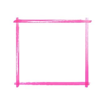 Cadre grunge aquarelle rose magenta. cadre de coups de pinceau texturé rose abstrait vintage aquarelle dessiné à la main isolé sur fond blanc