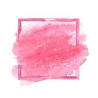 Cadre grunge aquarelle rose avec tache d'aquarelle. cadre de coups de pinceau texturé rose abstrait vintage aquarelle dessiné à la main isolé sur fond blanc. espace pour le texte