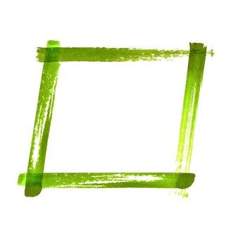 Cadre grunge aquarelle vert. cadre de coups de pinceau texturé vert abstrait vintage aquarelle dessiné à la main isolé sur fond blanc