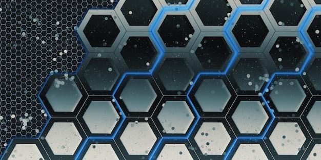 Cadre hexagonal brillant et effet bokeh géométrique abstrait matériau en acier hexagonal