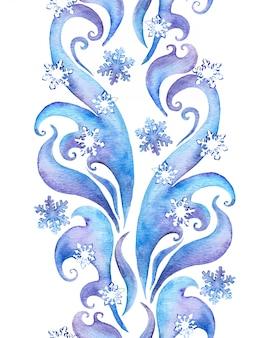 Cadre d'hiver répété avec des flocons de neige.