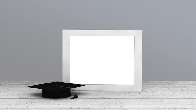Cadre horizontal blanc avec capuchon de graduation