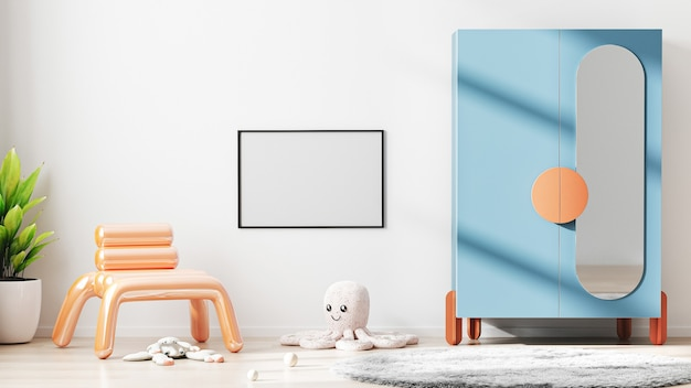 Cadre horizontal blanc maquette dans le fond intérieur de la chambre des enfants modernes avec mur blanc, rendu 3d