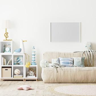 Cadre horizontal vide dans le style scandinave intérieur de chambre à coucher moderne d'enfants, rendu 3d