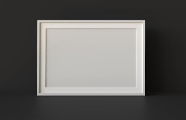 Cadre d'image vide avec fond de table et mur