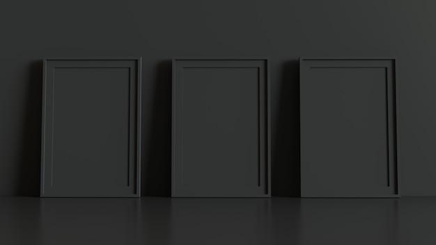 Cadre d'image vide avec table et mur de fond. rendu 3d.