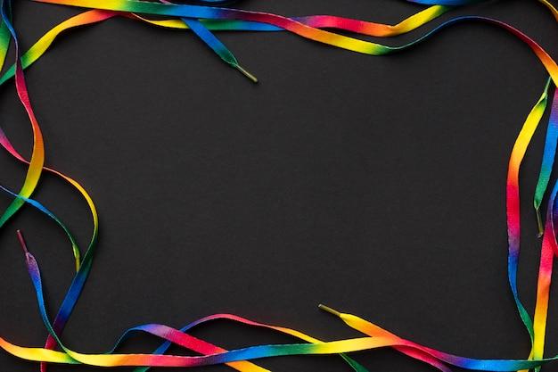 Cadre de lacets colorés vue de dessus
