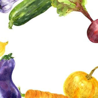 Cadre de légumes du jardin colorés illustration aquarelle dessinés à la main sur fond blanc