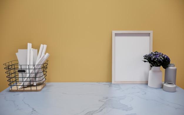 Cadre libre en bois de marbre avec la plante verte sur le mur blanc