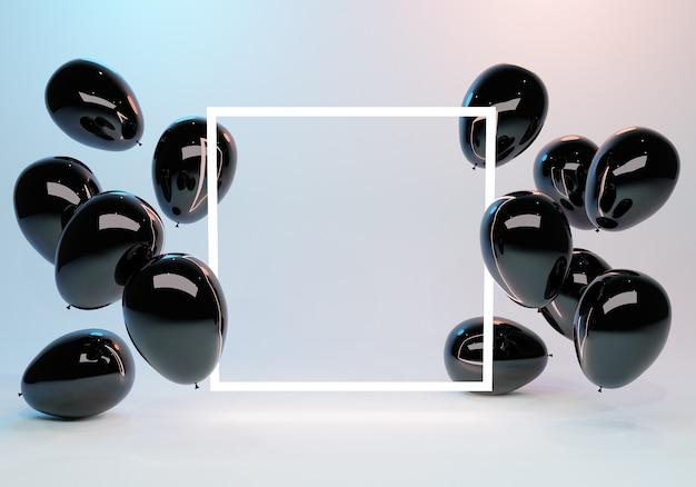 Cadre de lumière vide avec des ballons noirs brillants autour d'elle et des lumières de fond rendu copyspace d