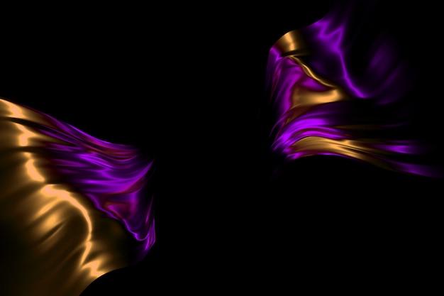 Cadre lumineux néon sur illustration 3d fond de soie qui coule en soie