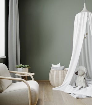 Cadre de maquette dans la chambre des enfants avec des meubles en bois naturel, arrière-plan intérieur de style ferme, rendu 3d