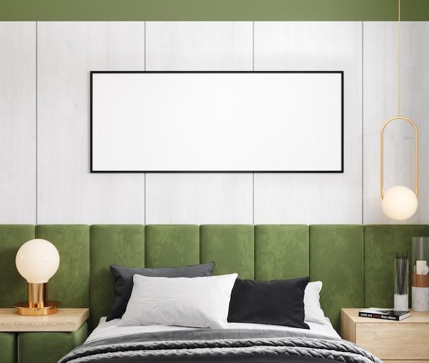 Cadre de maquette dans la conception contemporaine de chambre à coucher, chambre à coucher lumineuse, rendu 3d