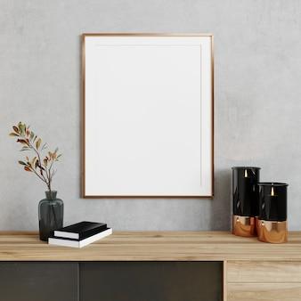 Cadre de maquette dans un intérieur de salon minimaliste et lumineux en gros plan, arrière-plan intérieur scandinave, rendu 3d