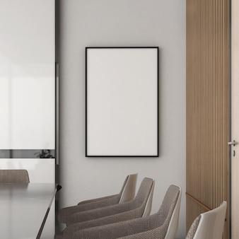 Cadre de maquette sur mur en bois avec chaise, style moderne, maquette d'affiche, rendu 3d