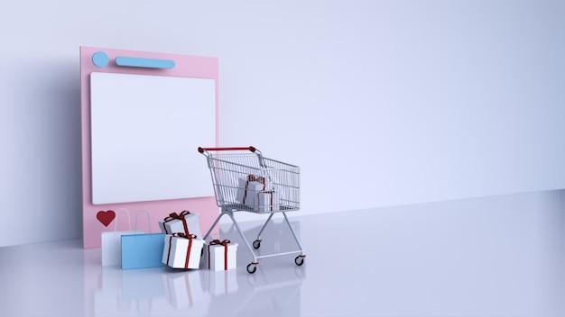 Cadre de médias sociaux instagram et panier avec boîte-cadeau et sac à provisions, rendu 3d