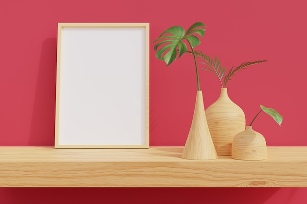 Cadre minimal sur étagère en bois avec des plantes dans la chambre avec un mur rose. rendu 3d.