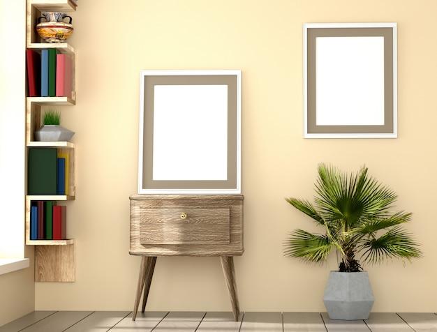 Cadre de mise en page affiche avec mur jaune, livres et fond intérieur de paume, illustration 3d