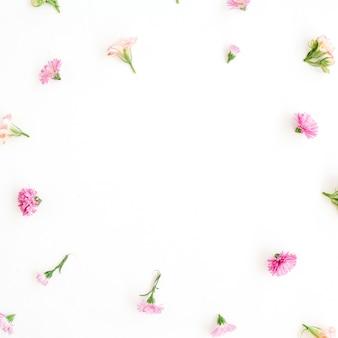 Cadre avec motif de bourgeons de fleurs sauvages roses et beiges