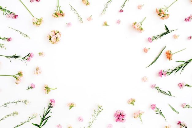 Cadre avec motif de fleurs sauvages roses et beiges