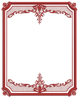 Cadre de moulage classique couleur rouge avec décor d'ornement pour intérieur classique isolé