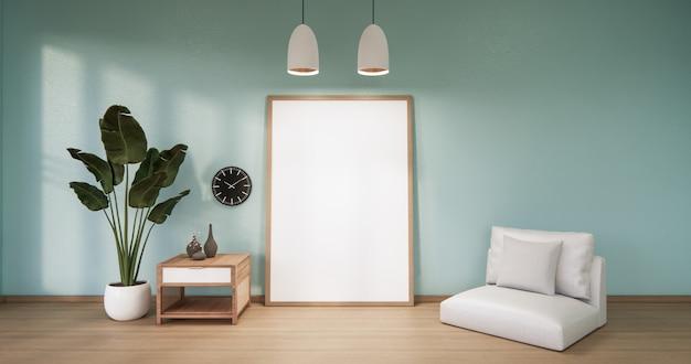 Cadre sur mur en bois de menthe vide sur la conception intérieure de plancher en bois