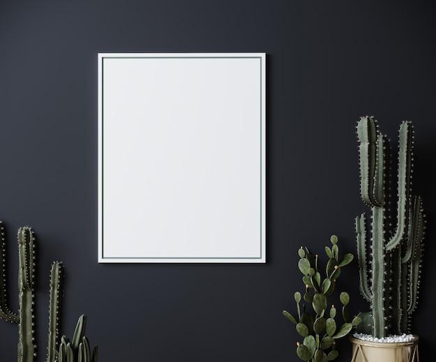 Cadre sur mur gris foncé