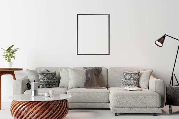 Cadre en mur intérieur moderne, salon, style scandinave
