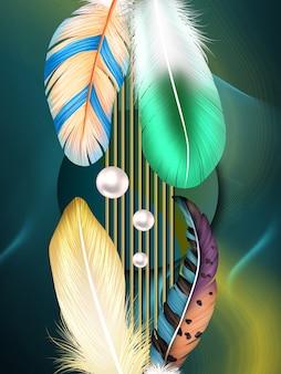Cadre mural moderne toile art papier peint plumes colorées 3d et perle sur fond sombre ondulé
