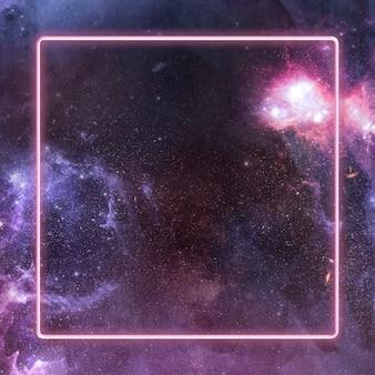 Cadre néon brillant sur fond de galaxie rose foncé