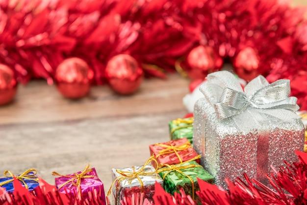 Cadre de noël, concept de nouvel an. coffrets cadeaux