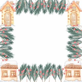 Cadre de noël sertie composition composition de sapin branches et maisons couverture, invitation, bannière, carte de voeux.
