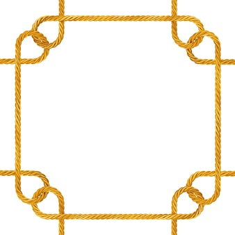 Cadre de noeud de corde d'or jaune avec un espace vide pour votre conception sur un fond blanc. rendu 3d
