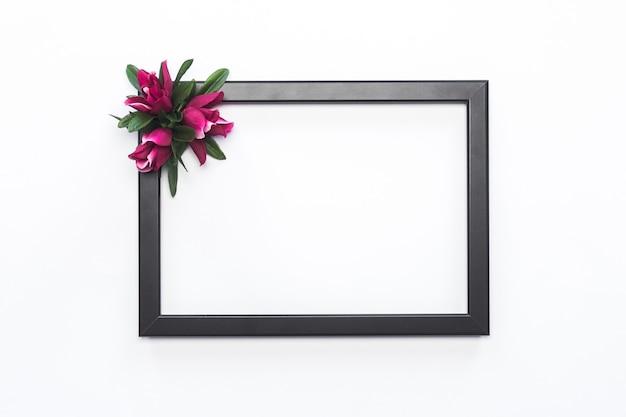 Cadre noir fleur rose fond blanc moderne