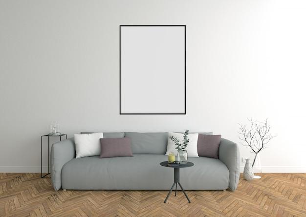 Cadre noir vertical, salon avec canapé gris et cadre