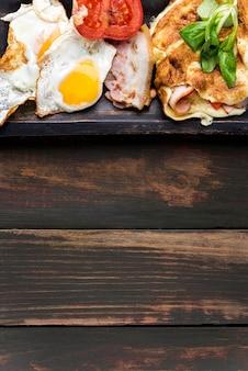 Cadre de nourriture vue de dessus avec copie-espace